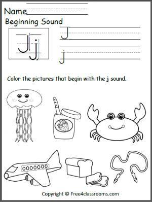 free beginning j sound worksheet teacher ideas j sound kids learning activities preschool. Black Bedroom Furniture Sets. Home Design Ideas
