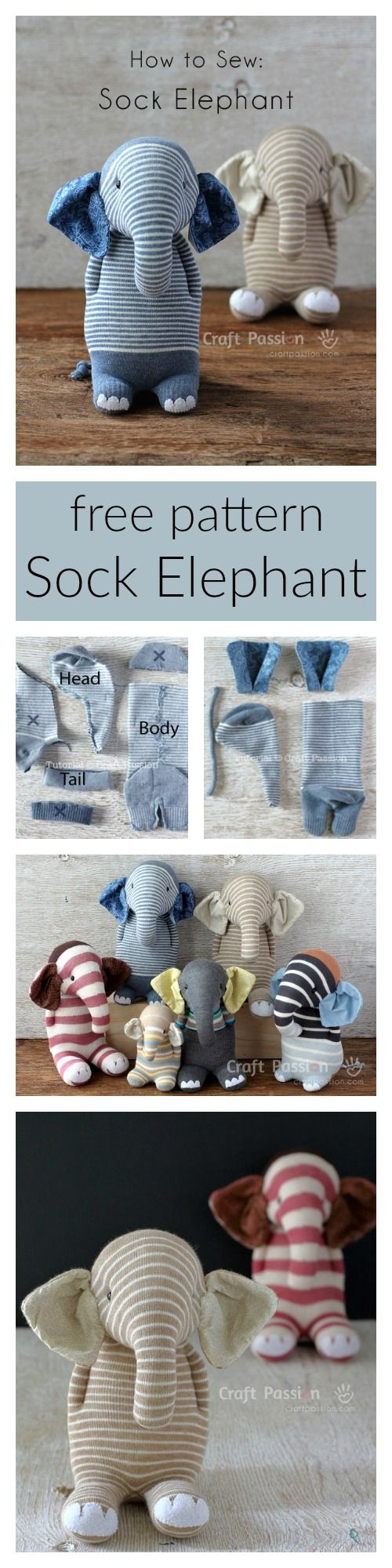 Ella, the sock elephant, free pattern & tutorial