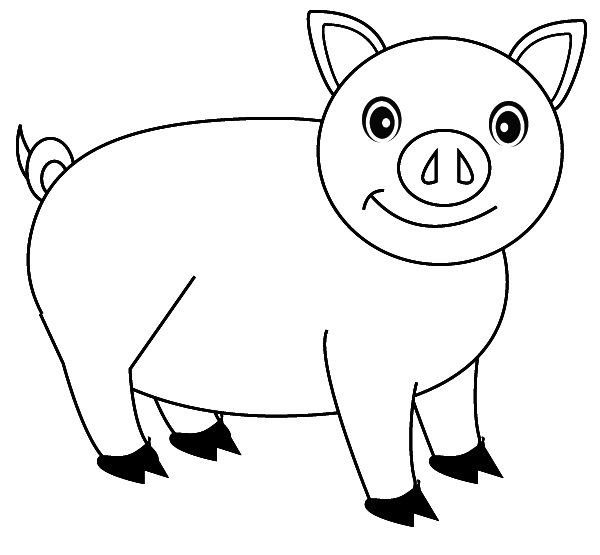 Pig With Large Body Coloring Pages For Kids E92 Printable Pigs Coloring Pages For Kids Cartoon Coloring Pages Coloring Pictures Coloring Pages