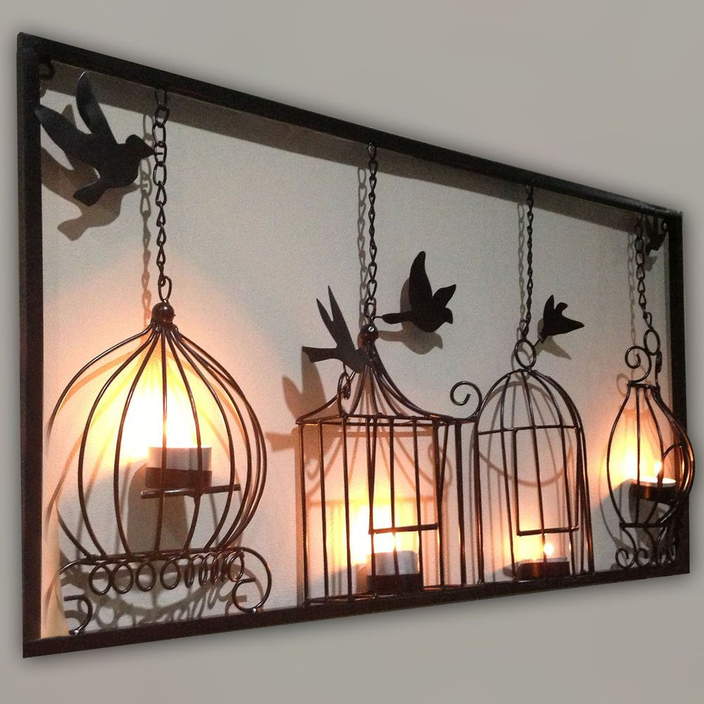 BIRDCAGE TEA LIGHT WALL ART METAL WALL HANGING CANDLE HOLDER BLACK 3D BIRD CAGE #FREELOGIX # ...