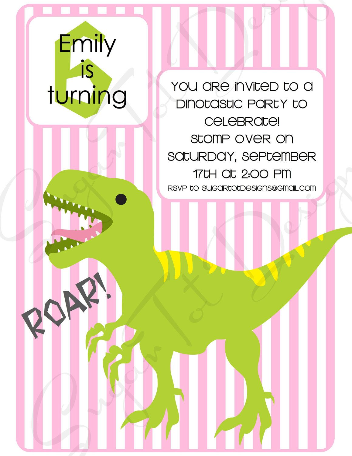 Dinosaur Birthday Party Invitation, T-Rex Birthday Party Invitation ...