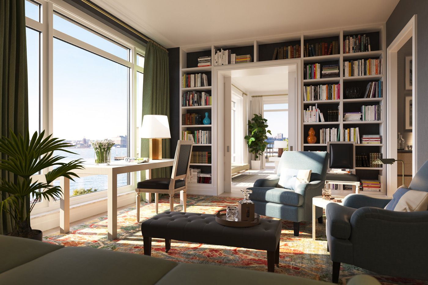 Dark wall color and white bookcase and trim_70 Vestry