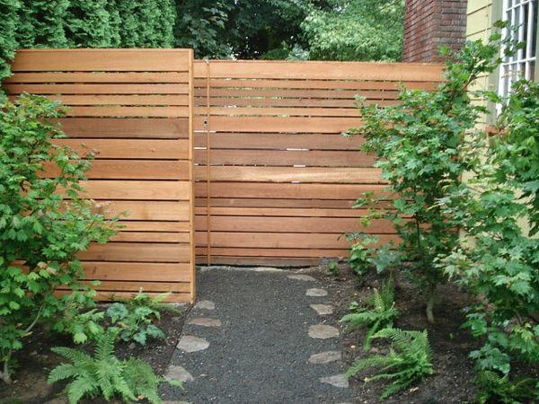 vorgartengestaltung modern sichtschutz holz steine pflanzen, Gartengestaltung