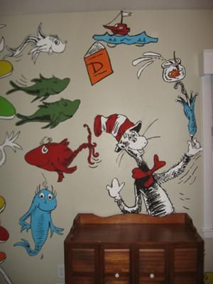 Cat in the hat says hello in our baby 39 s nursery our for Dr seuss mural nursery