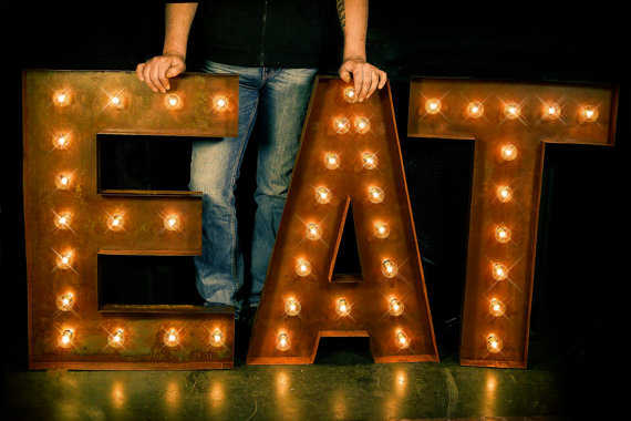 Lighted Metal Initials Eat Letter Eat Sign Cafe Sign Lighted Metaltlnfunctionalart