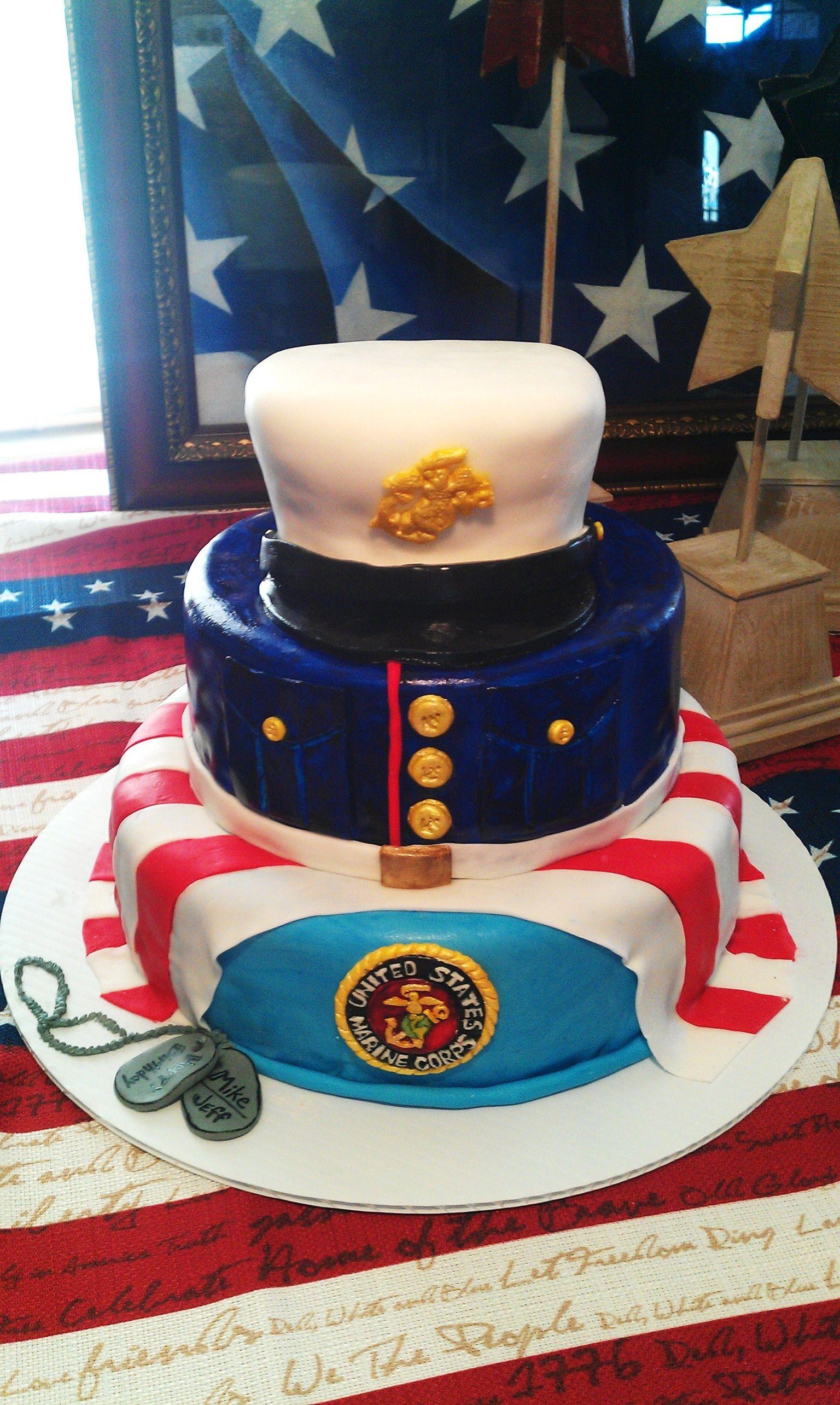 USMC Cake by T.Hawkins Marine corps cake, Dad birthday