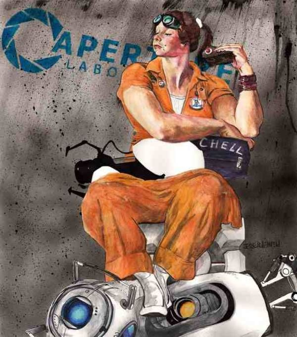 Portal's Chell in the style of Norman Rockwell
