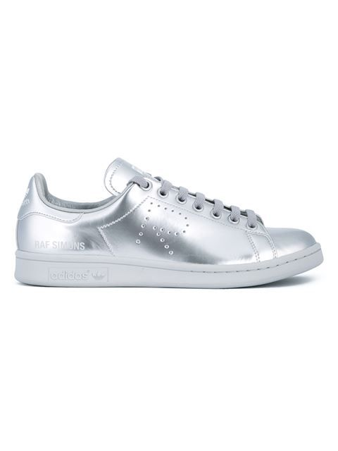 1c6b2fe6382 Shop Adidas By Raf Simons metallic  Stan Smith  leather trainers in  Bagheera from the world s best independent boutiques at farfetch.com.