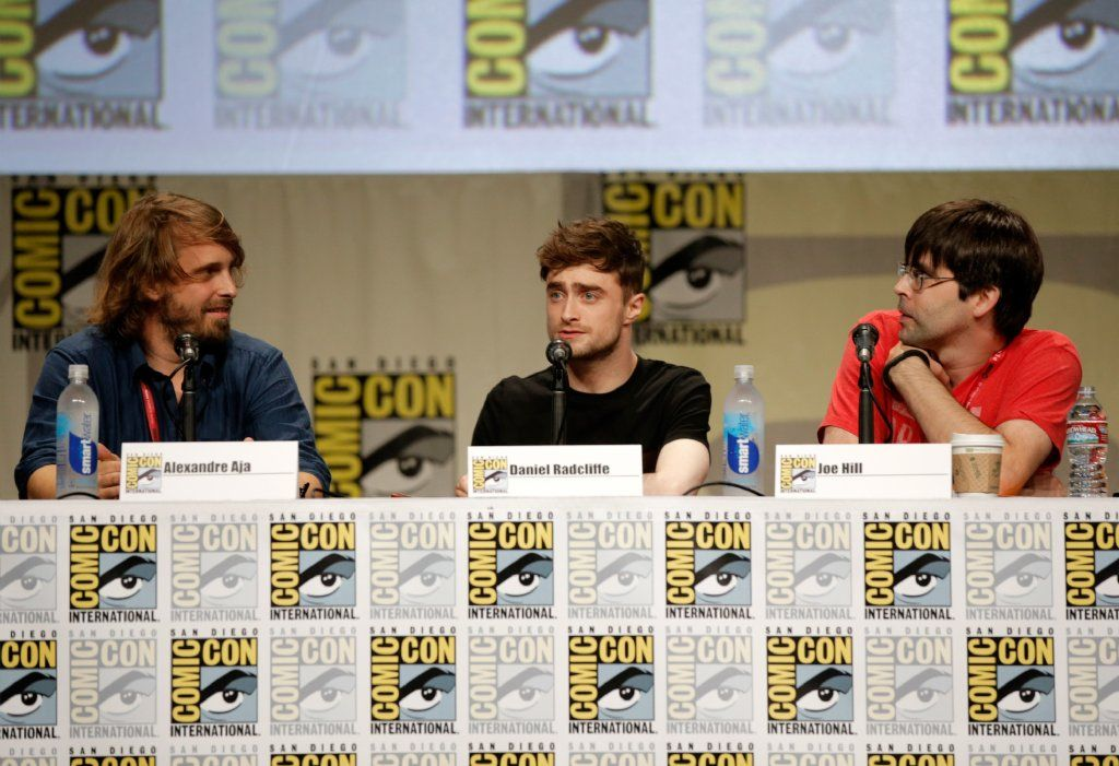 Director Alexandre Aja, Daniel Radcliffe and writer Joe Hill at Comic Con talking about Horns