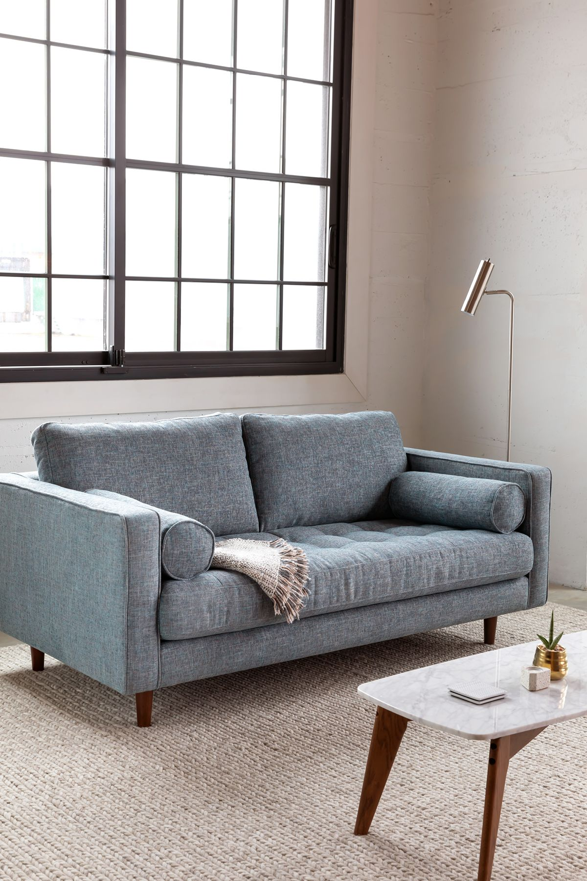 Sven Aqua Tweed 72 Sofa With Images Sofas For Small Spaces