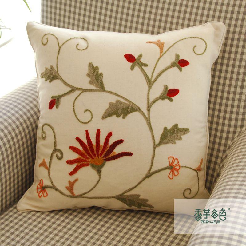China hechos a mano bordados throw pillow covers planta - Cojines de lana hechos a mano ...