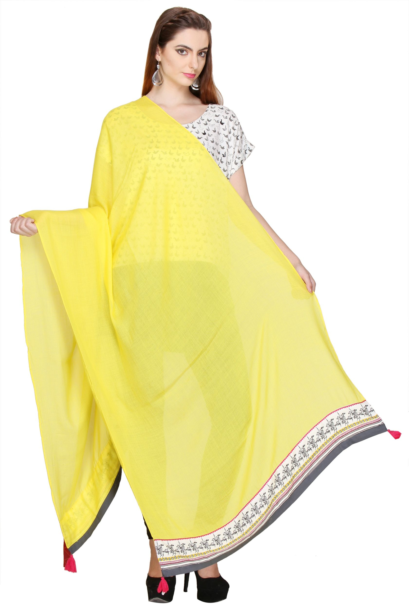 fbc42876eb0  Online  Shopping  India Store Sells W Smart Casual YELLOW DUPATTA like  Pomp a traditional outlook with this brilliant ethnic designed