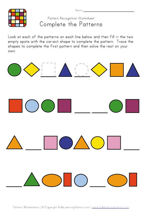 Easy Preschool Patterns Worksheet 1 – Pattern Worksheets for Kindergarten