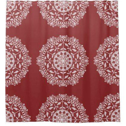 Cranberry Mandala Shower Curtain