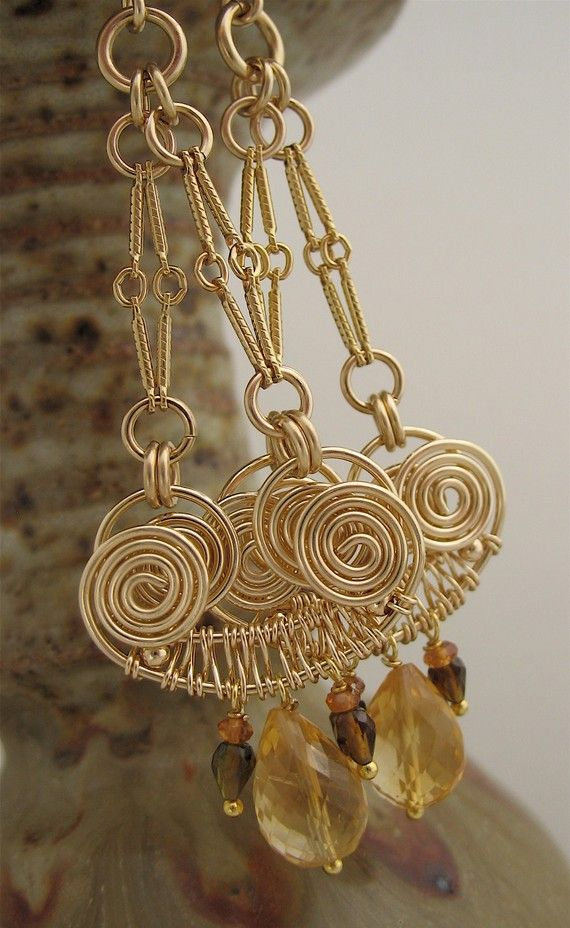 Handmade Wire Wrapped Gemstone Long Dangle Earrings - Yellow Orange ...