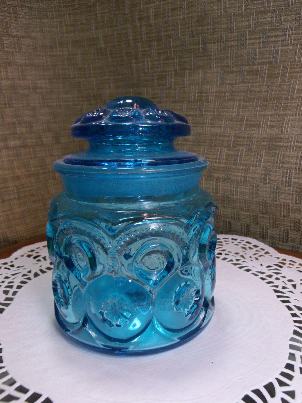 Colonial Blue LE Smith Moon & Stars Glass Tea Canister ~ 5\