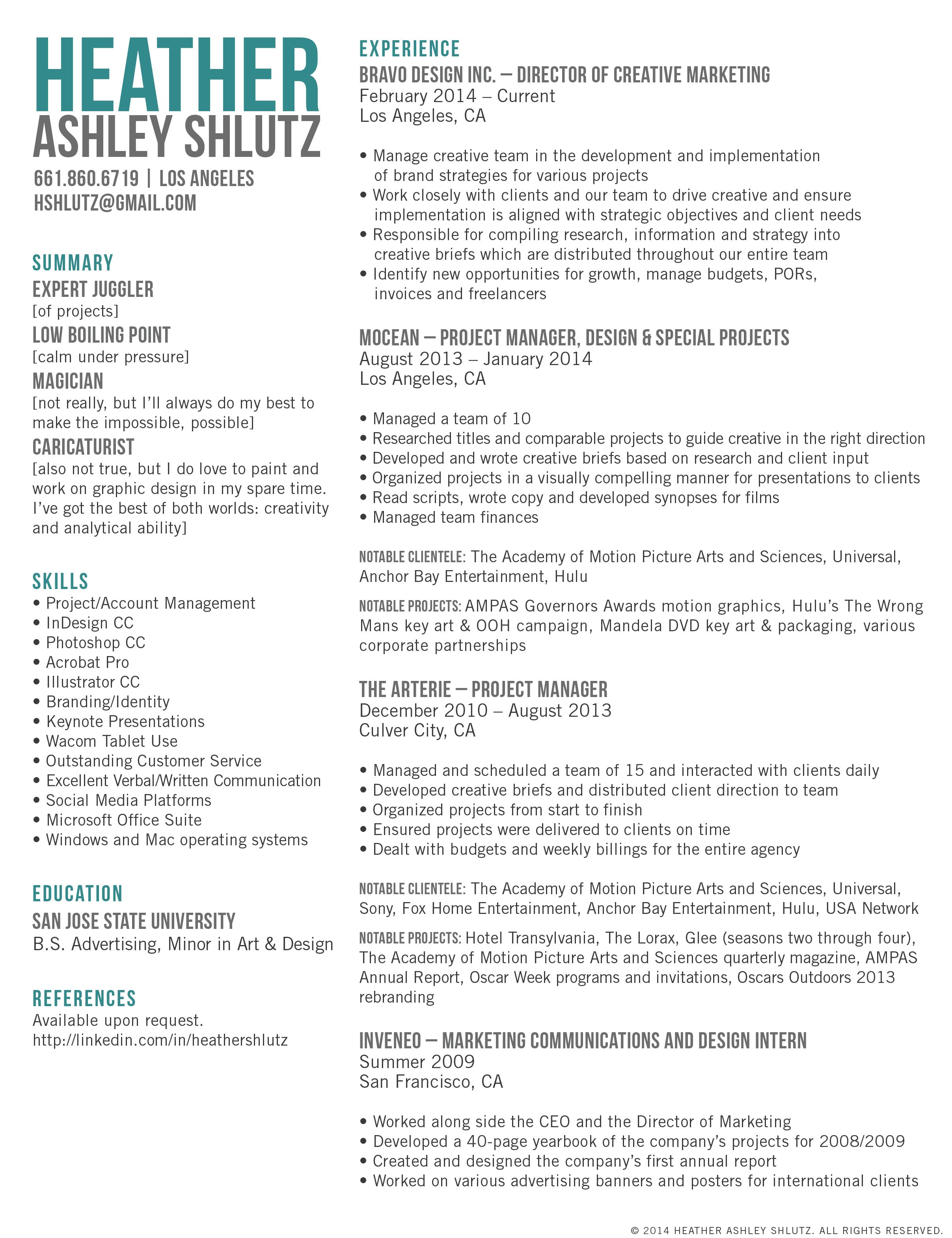 creative marketing director resume - Google Search | Work ...