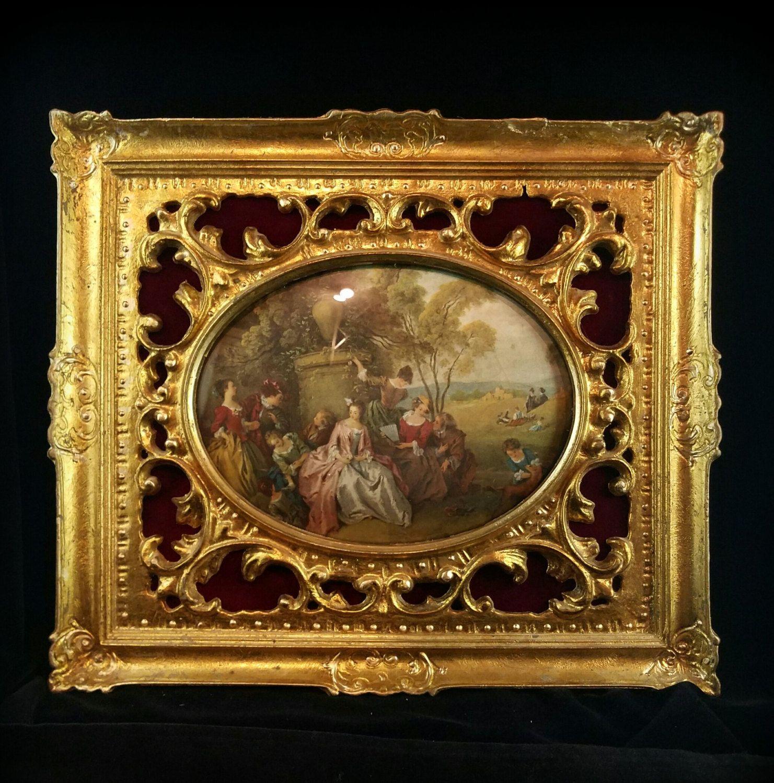 Victorian Silk Frame Filigree Framed Velvet Portrait Frame