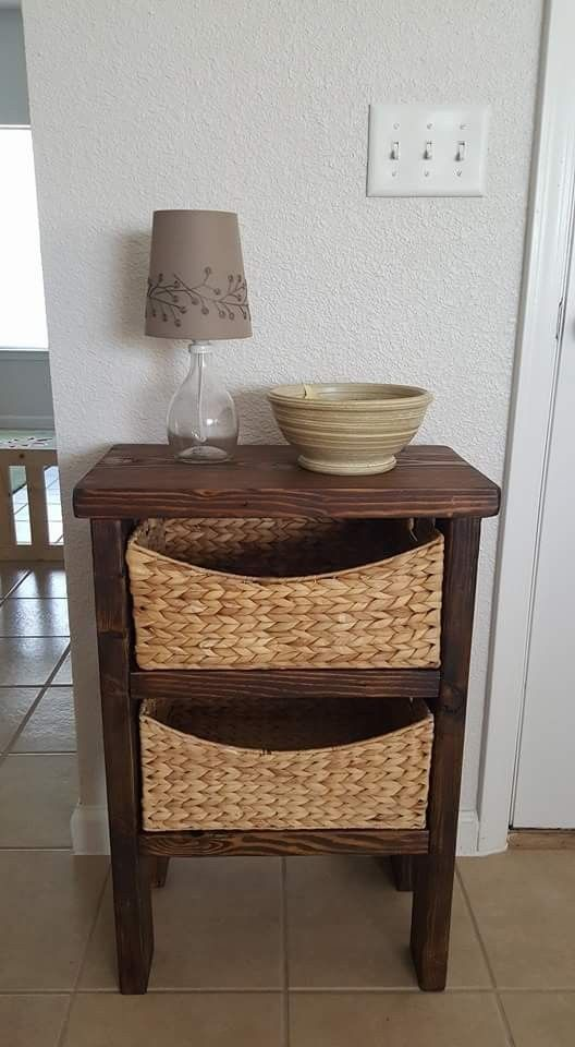 """Custom Entry Table w/ baskets - 20""""Lx11.5""""Wx24""""H. Stained with honey stain."""