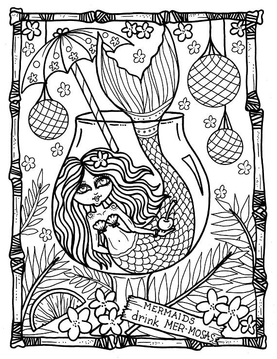 Tails From The Tiki Bar Mermaids Coloring Book Hawaii