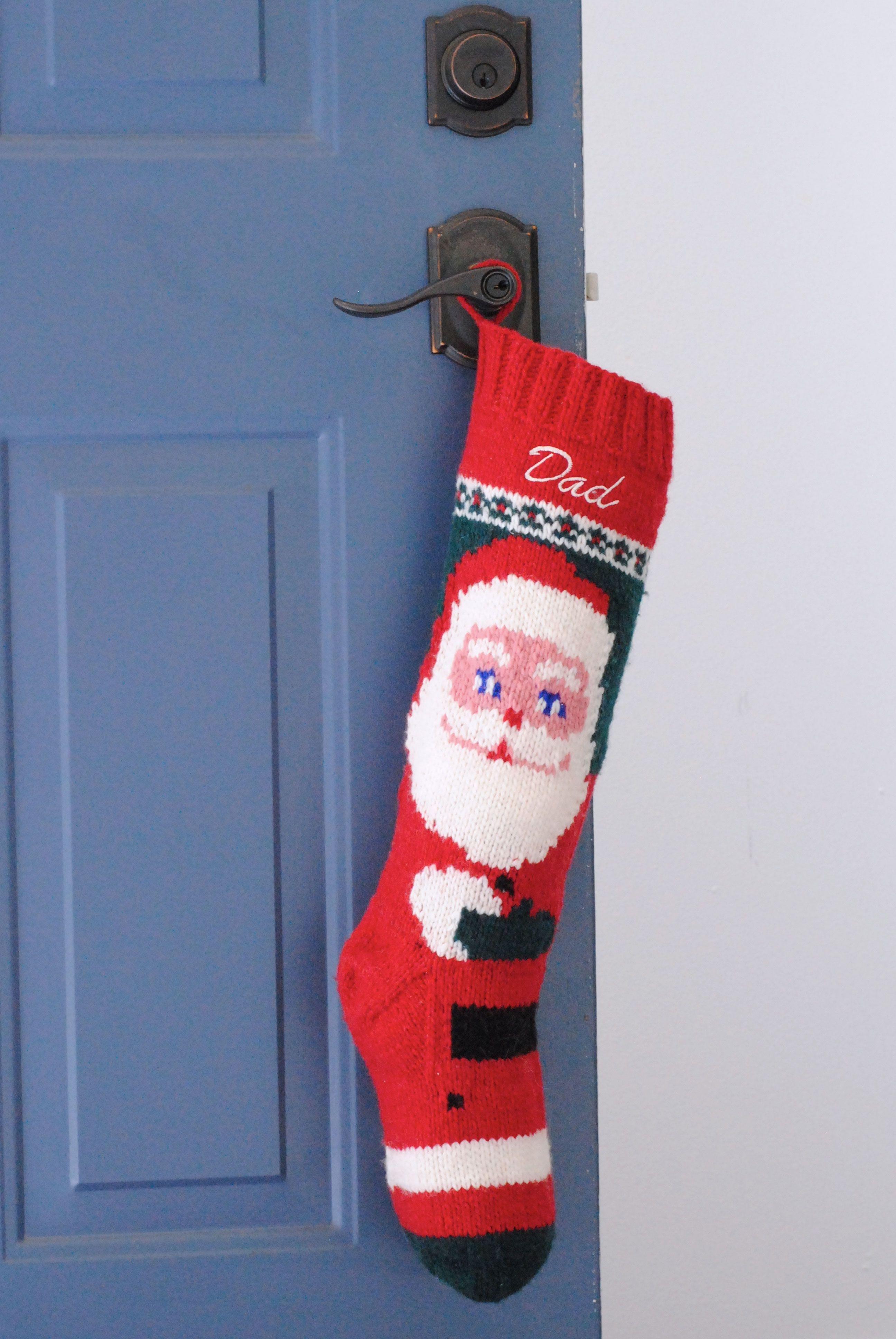 Mary Maxim Hand Knit Santa Christmas Stocking