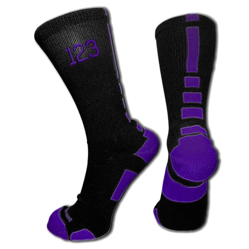 Black purple custom elite socks available for for Custom elite