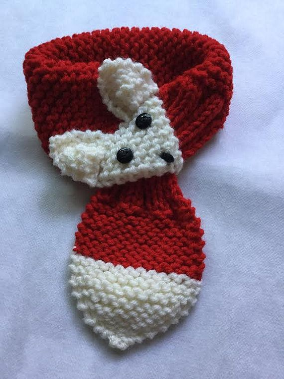 Crochet Dog Adjustable Fox Scarf Neck warmer for Small Breeds Dogs ...