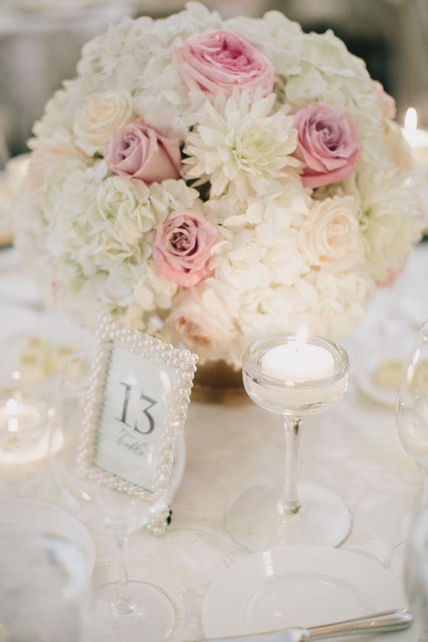 Pretty Pink White Ballroom Wedding Elizabeth Anne Designs The Wedding Blog Wedding Centerpieces Rose Centerpieces White And Pink Roses
