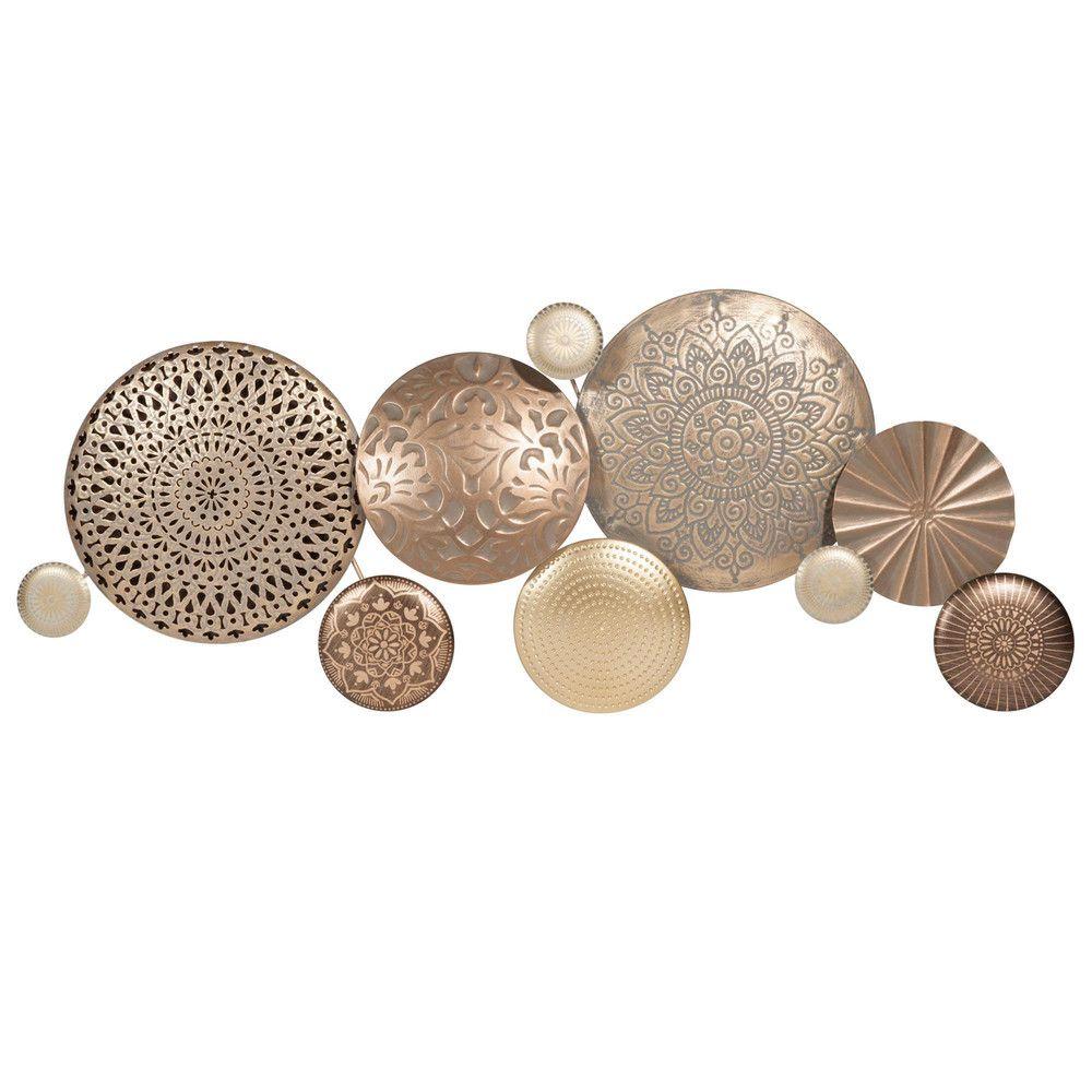 wanddeko aus goldfarbenem metall 37x89 metall. Black Bedroom Furniture Sets. Home Design Ideas