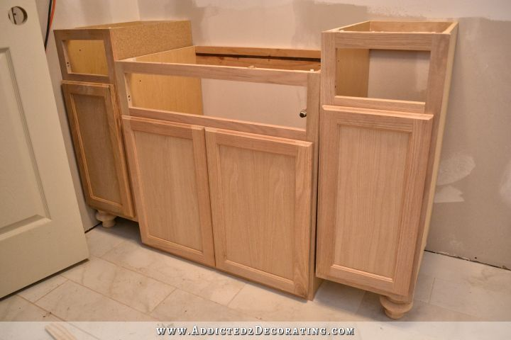 Furniture-Style Bathroom Vanity Made From Stock Cabinets \u2013 Part 1