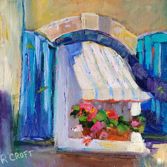 """Through the French Window"" 8 x 8 Canvas Board Original Oil Painting."