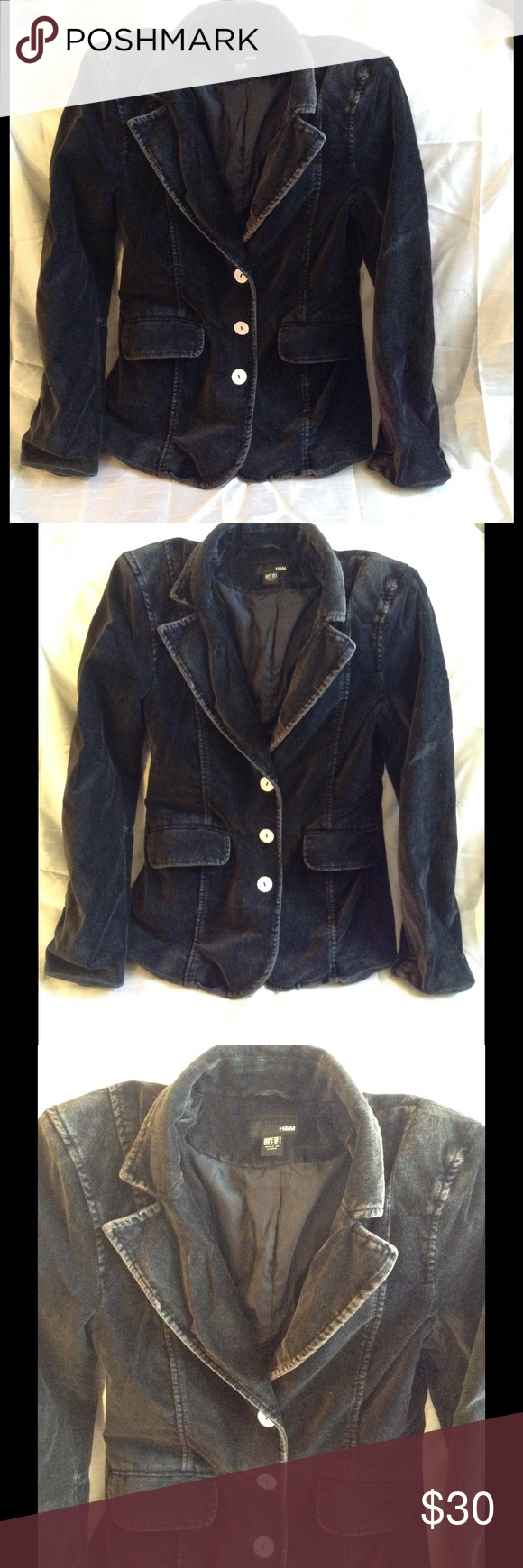 H&M black/grey velvet women's blazer jacket Women's H&M black/grayish velvet blazer jacket in a size US 6. In great condition. Have worn a few times but no longer fits. H&M Jackets & Coats Blazers