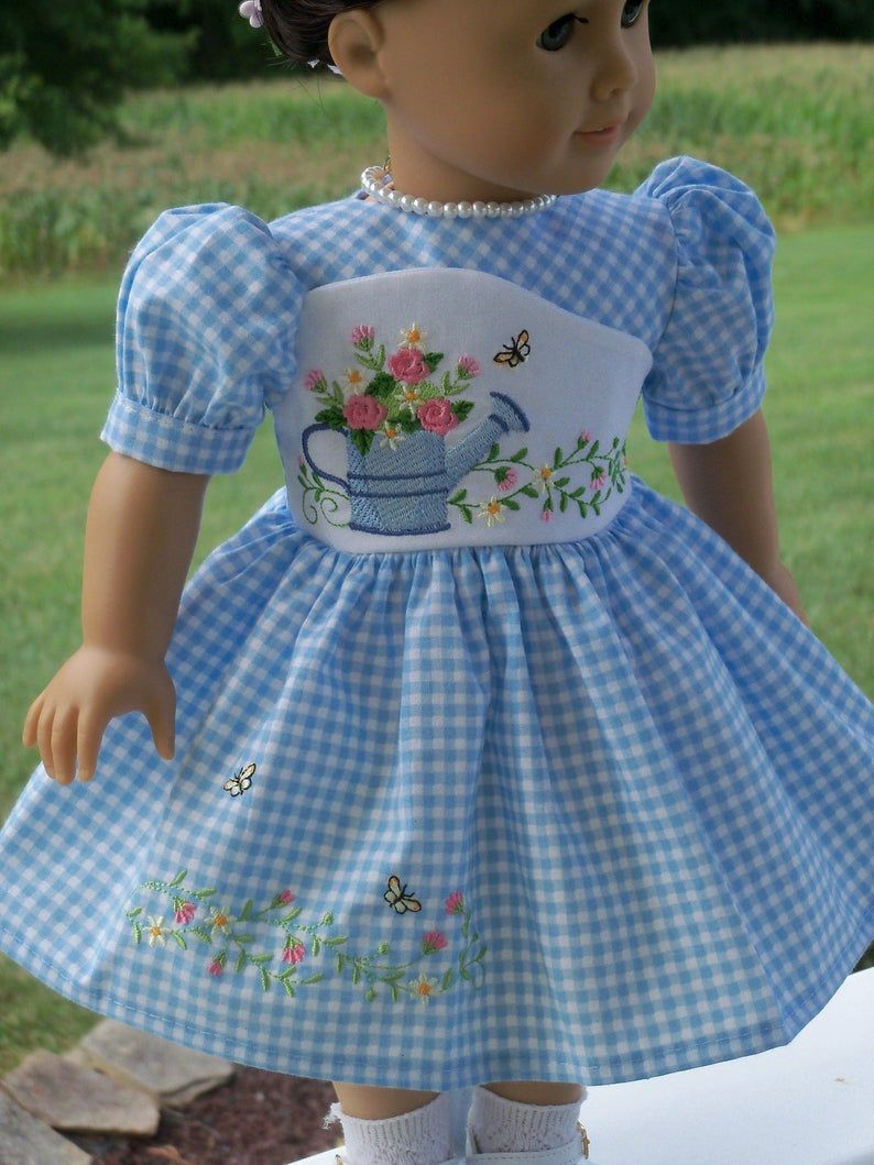 Like American Girl Doll Clothes / Embroidered Dress and Shoes / 18 Inch Doll Clothes by Farmcookies fits American Girl #girldollclothes