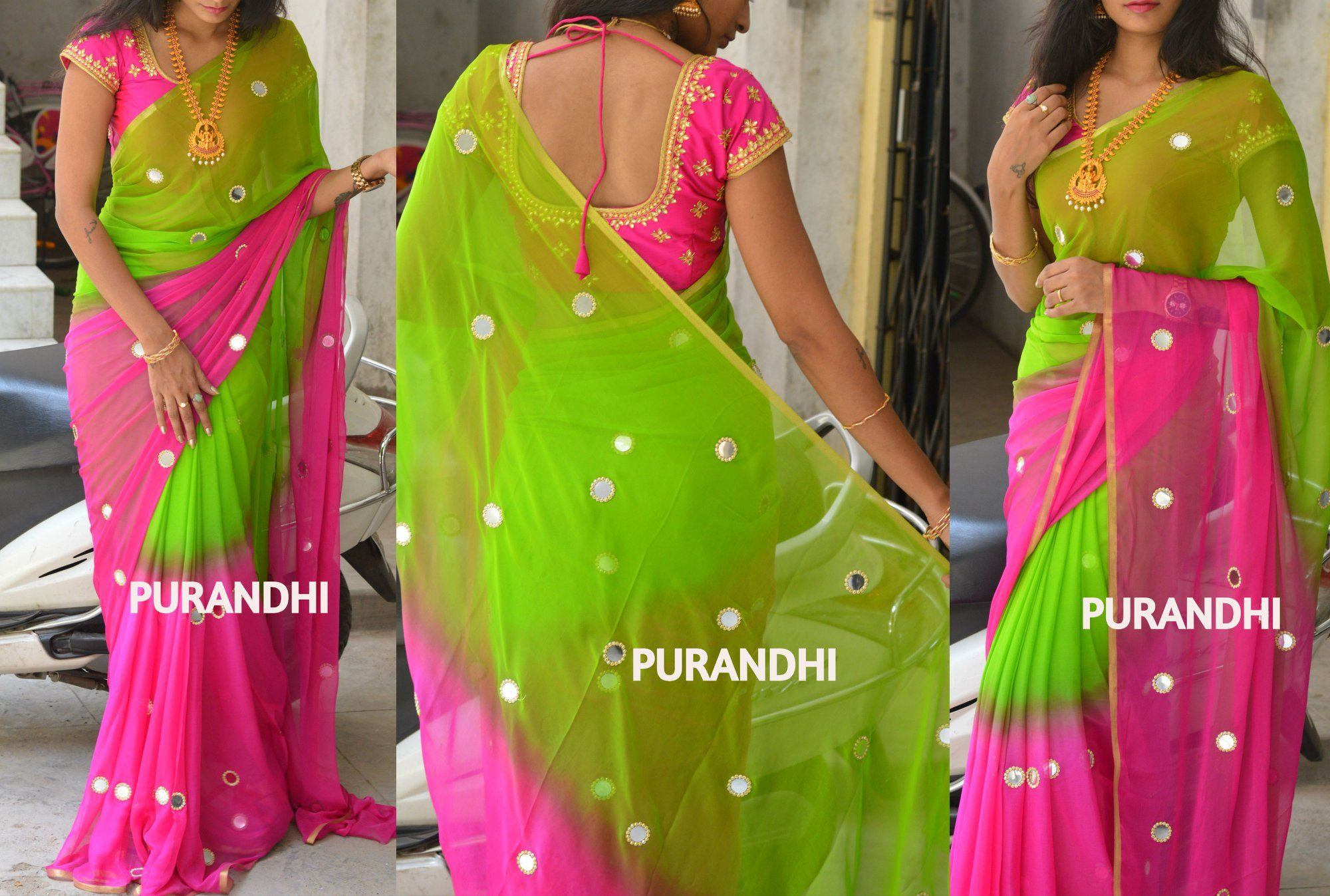 bfe2cda3dbef89 Stunning parrot green and pink color combination fancy saree with hand  embroidery mirror work. To Buy this saree please contact on whats app :  9701673187 ...