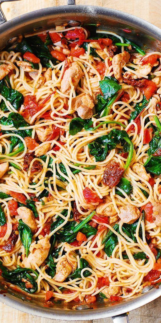 Tomato Spinach Chicken Spaghetti with Garlic -  Tomato Spinach Chicken Spaghetti with Garlic  -