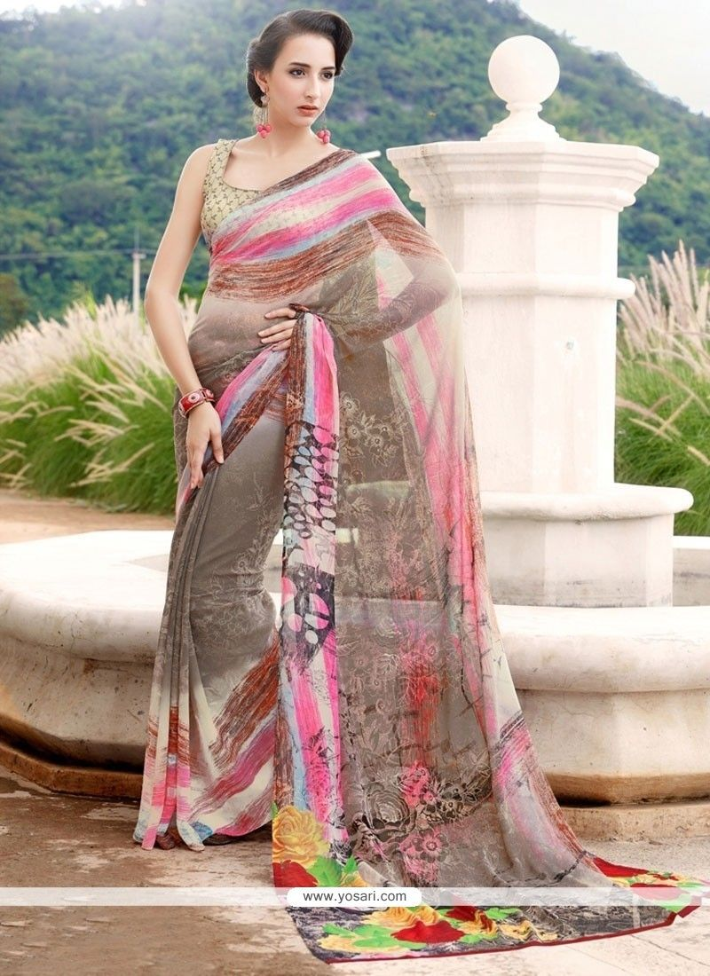 fbdcbb16b4153e Lovable Georgette Multi Colour Printed Saree   CASUAL SAREES   Saree ...