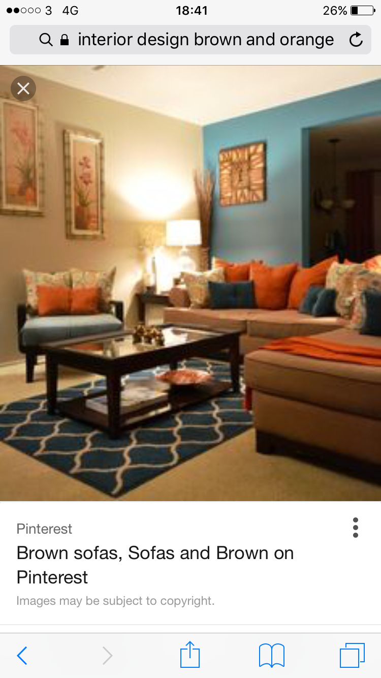 Living room, orange and blue