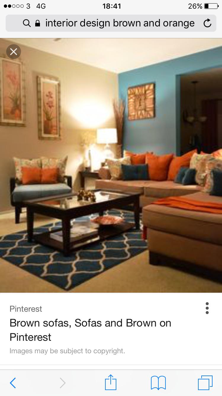 Living room, orange and blue