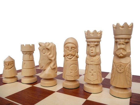 Unique Hand Made Wooden Chess Set Large 60x60cm