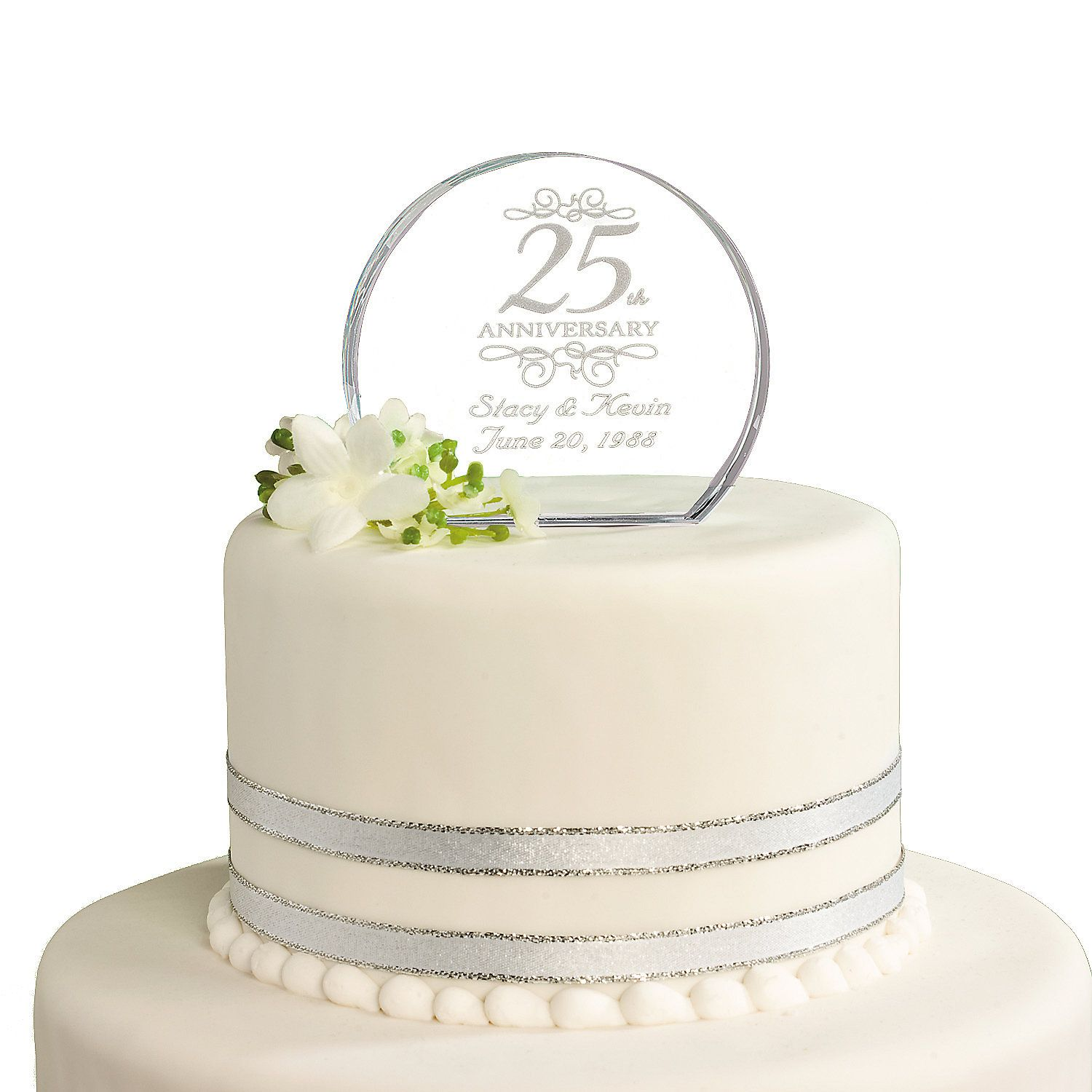25th Wedding Anniversary Cake Ideas: Personalized 25th Anniversary Cake Topper