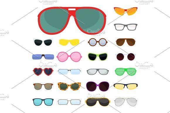 fcfb06208d4 Fashion set sunglasses accessory sun spectacles plastic frame modern eyeglasses  vector illustration. by Vectorstockersland on  creativemarket