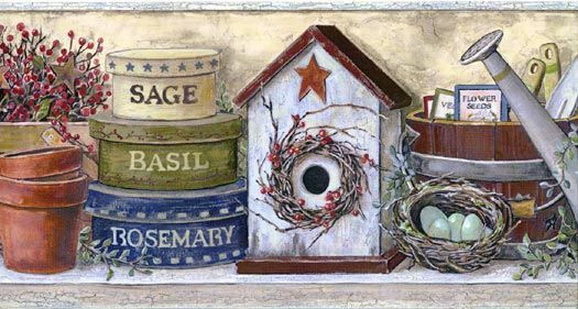 Crackle Beige Birdhouse Wall Paper Border Cn1165bdb Bird Houses Borders For Paper Country Paintings