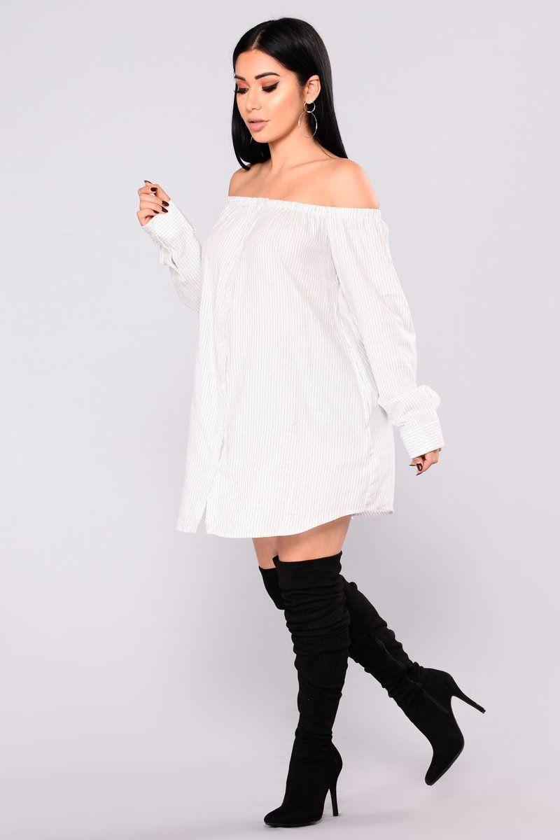 Give You The World Off Shoulder Dress White/Black