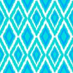 Diamond Ikat Mint, Bright Blue & White