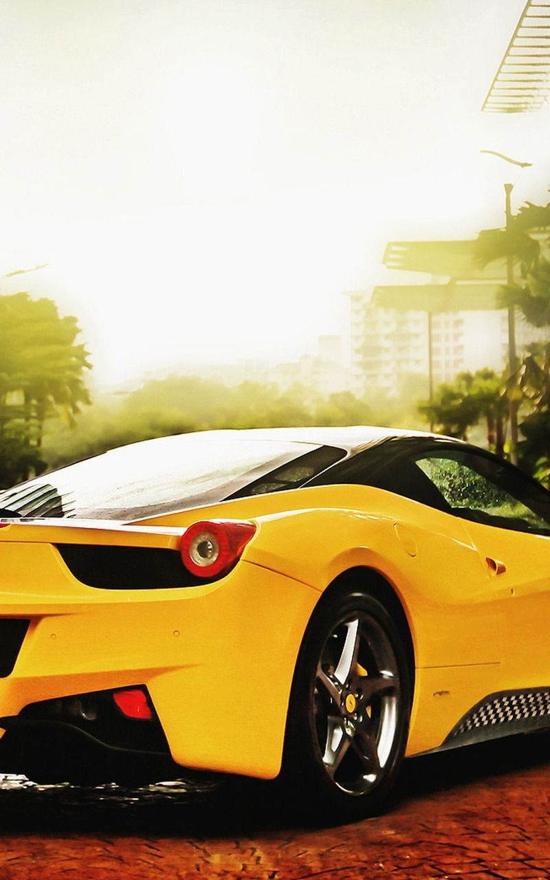 Yellow Ferrari Car Mobile HD Wallpaper