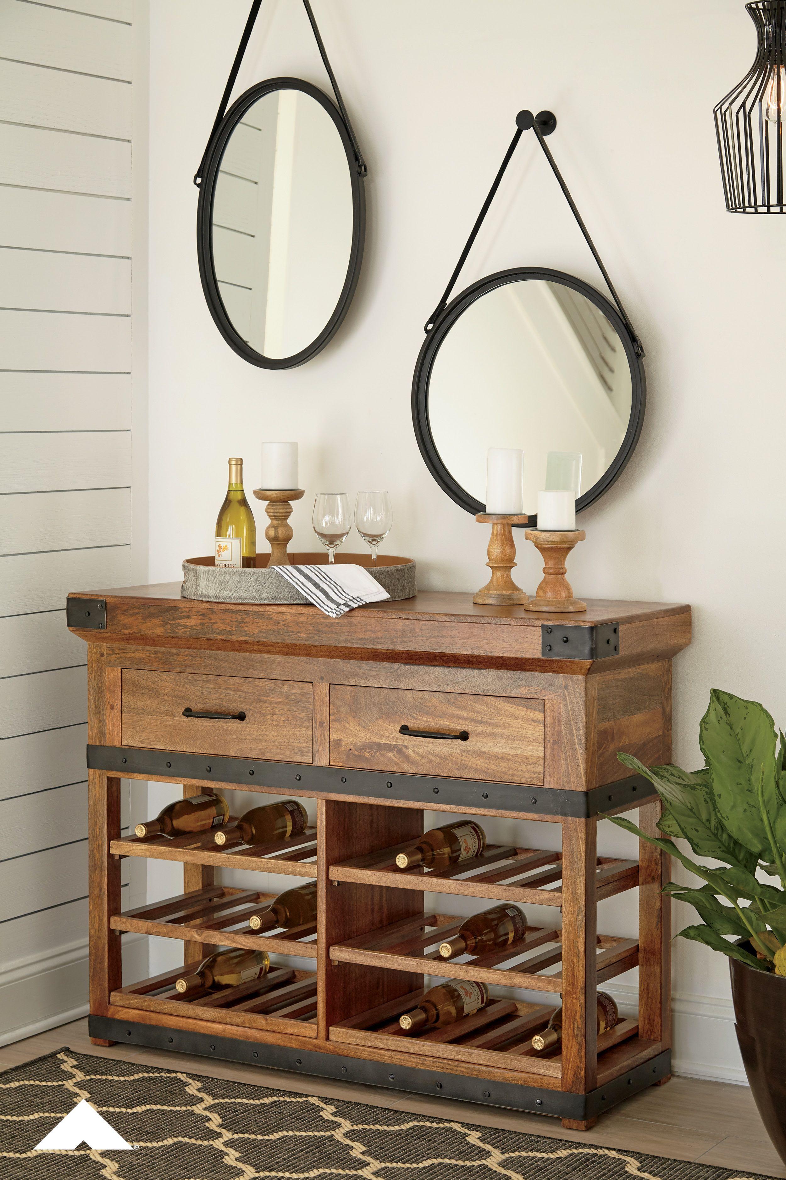 Glosco Warm Brown Wine Cabinet By Ashley Furniture