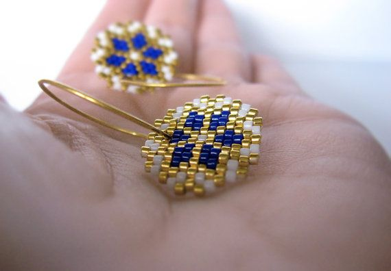 Earrings - Cobalt Shine - Bright Blue, White and Gold - 24k Gold plated sterling silver hoops on Etsy, 380,00kr