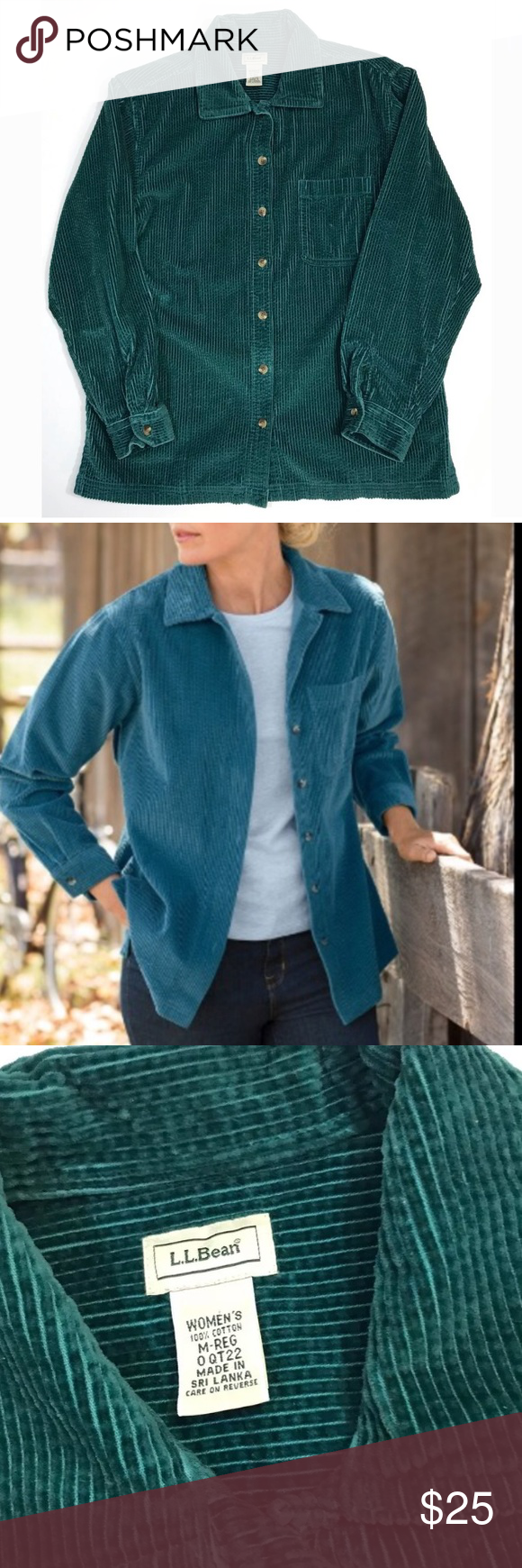 """LL Bean Button Front Wale Cord Corduroy Shirt Teal Gently worn no issues! All cotton soft wide wale cord long sleeved button Front Shirt in a rich teal green. Perfect cozy for fall layering! Women's medium. 21"""" across bust from underarm to underarm 26.5"""" from shoulder to bottom hem. L.L. Bean Tops Button Down Shirts"""