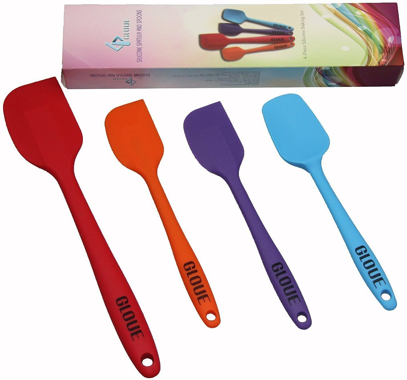 GLOUE Silicone Spatula Set - 4-piece 450oF Heat-Resistant Baking ...