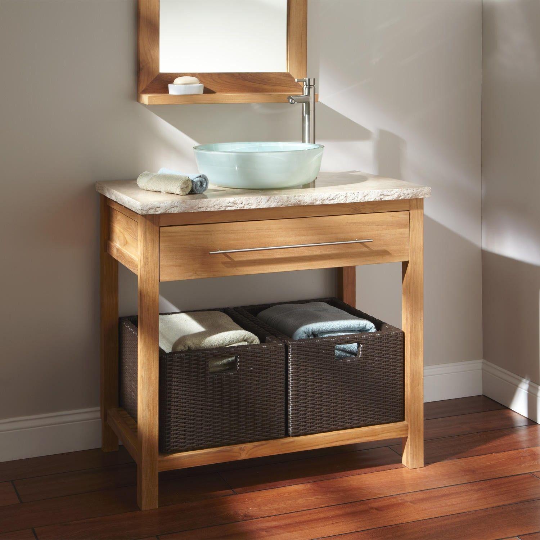 36 Sylmar Teak Vessel Sink Console Vanity Bathroom Heitner